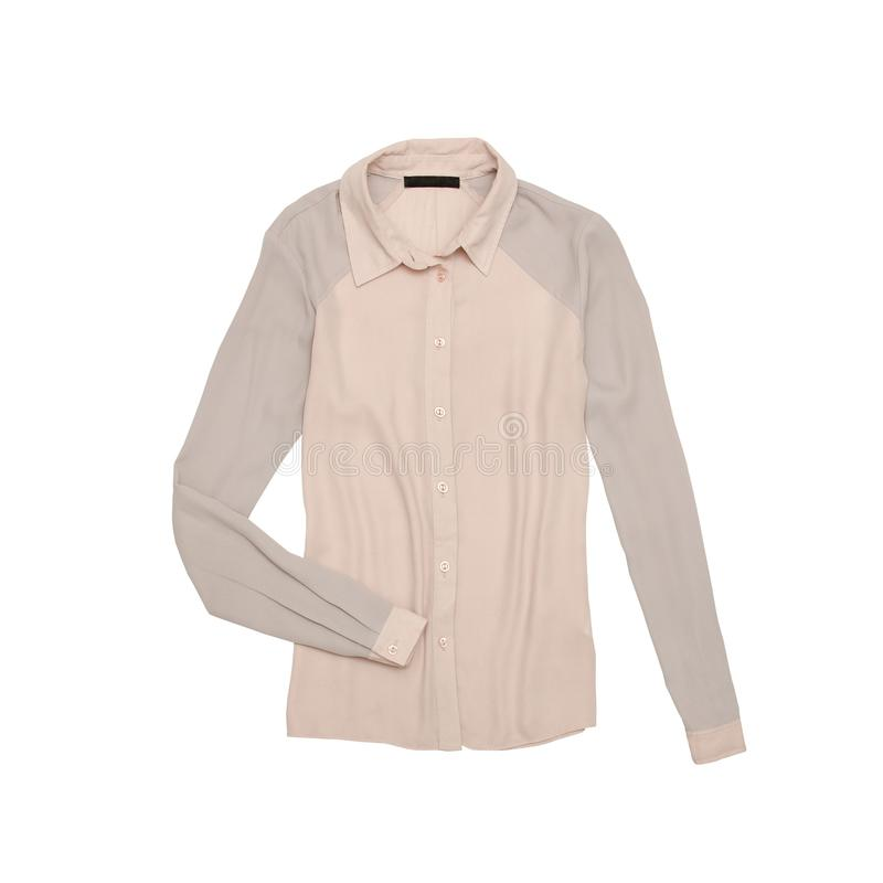 Blusa cor-de-rosa e cinzenta conceito elegante Isolado backg branco imagem de stock