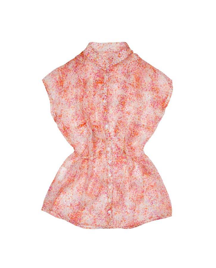 Blusa di seta rosa isolata su un fondo bianco fotografia stock libera da diritti
