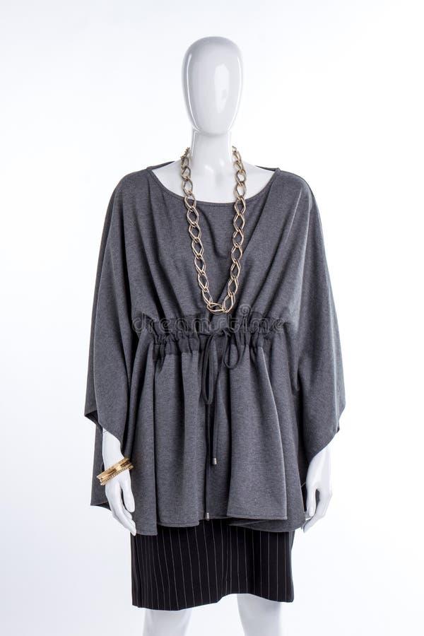 Blusa elegante cinzenta e saia preta imagens de stock