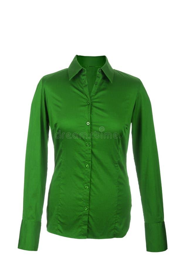 Blusa verde vuota con le maniche lunghe, isolate sul backgro bianco fotografie stock libere da diritti