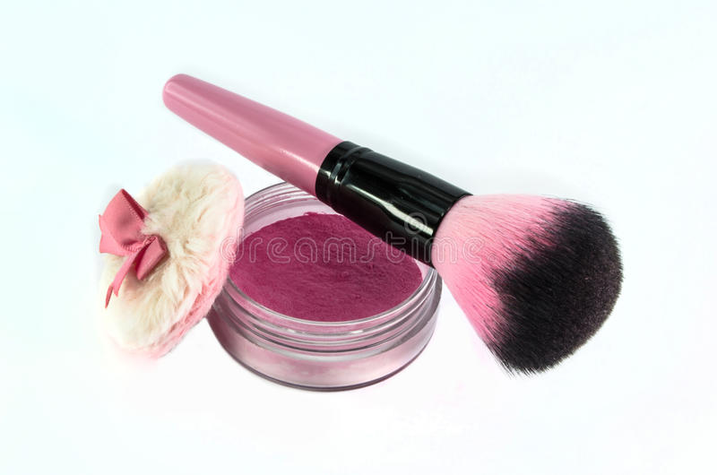 Blush brush. And pink powder royalty free stock photography