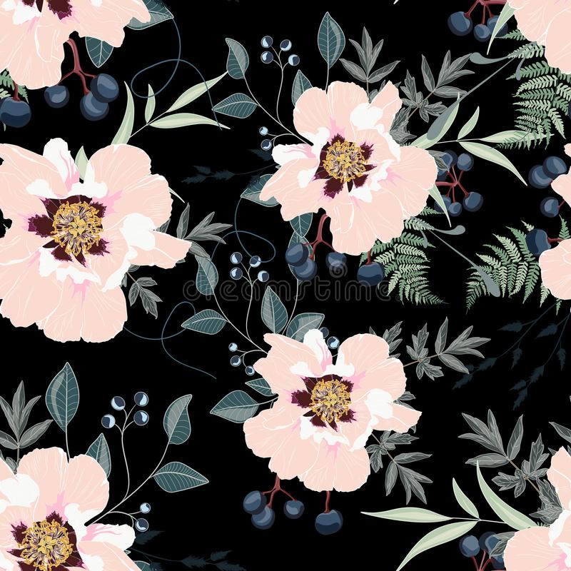 Blush peony bouquets on the black background. Seamless pattern with delicate flowers. royalty free illustration