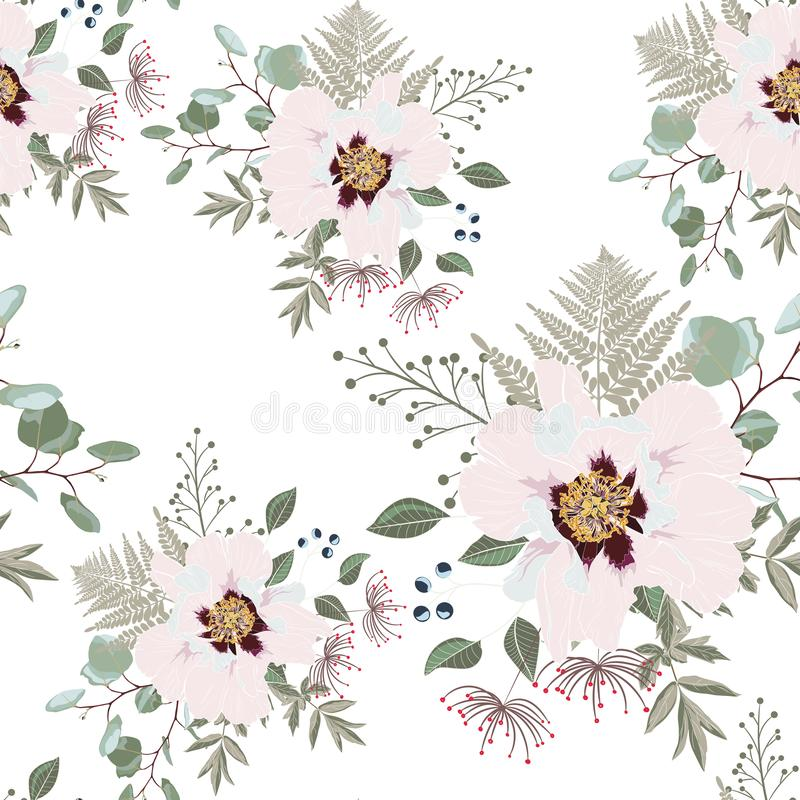 Blush pink bouquets on the white background. Seamless pattern with delicate flowers. Dahlia, peony, fern and herbs. Romantic garden illustration vector illustration