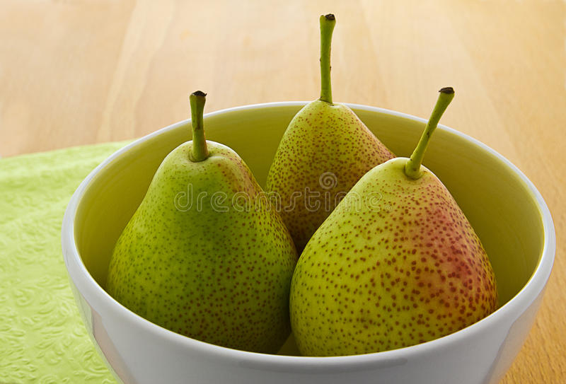Download Blushed Forelle Pears In White Bowl (Pyrus) Stock Photo - Image: 24536396