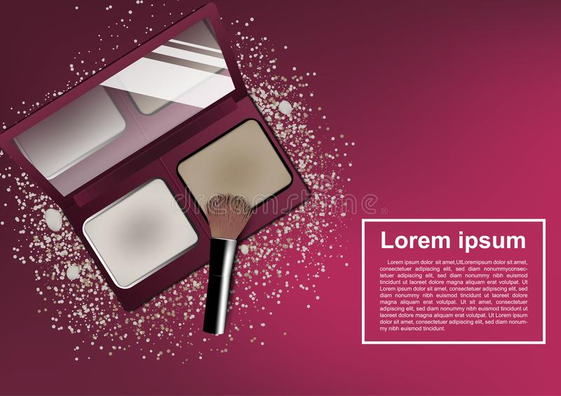 Blusher and brush cosmetic ads template.  vector illustration