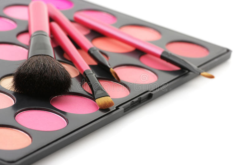 Blushes Palette And Brushes Royalty Free Stock Photo