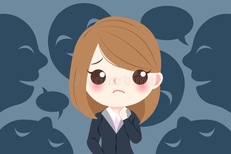 Blusiness-Frau mit der Einschüchterung vektor abbildung