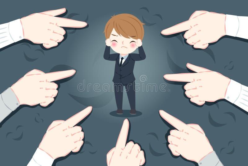 Blusinessman mit Einschüchterungskonzept lizenzfreie abbildung