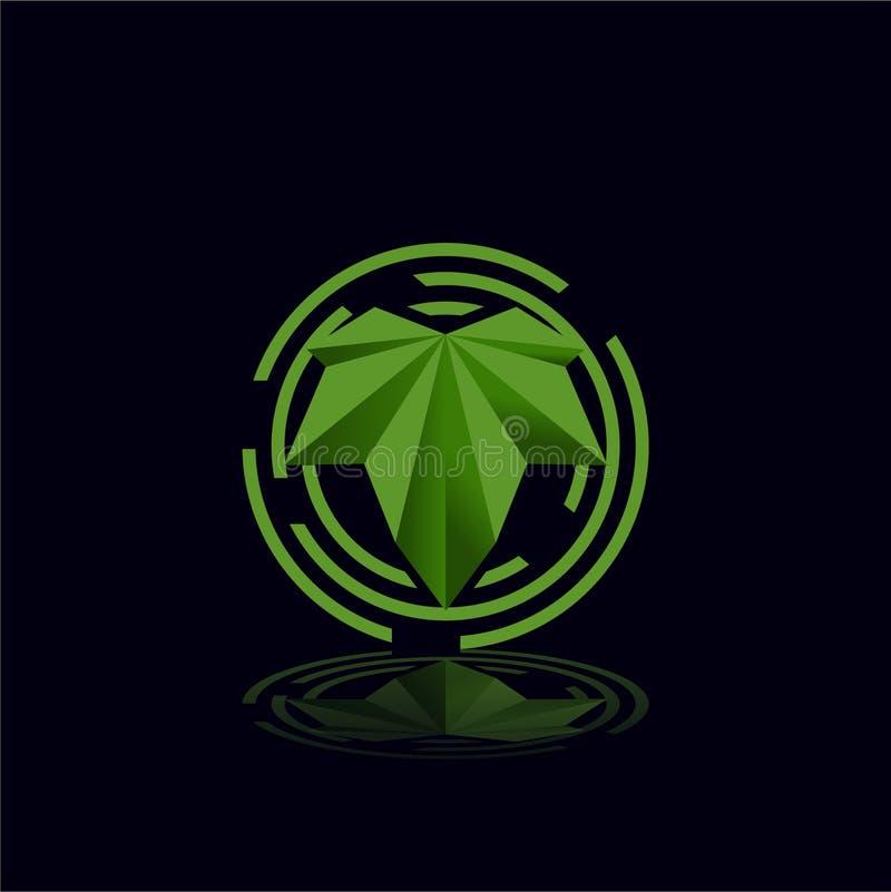 Bluszcza liść plus osłona dla ochrona logo szablonu royalty ilustracja