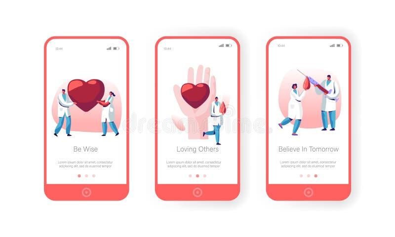 Blut-Spenden-Laborbewegliche App-Seite an Bord des Schirm-Satzes, Doktor Characters in der Uniform, Gesundheitswesen, Nächstenlie lizenzfreie abbildung