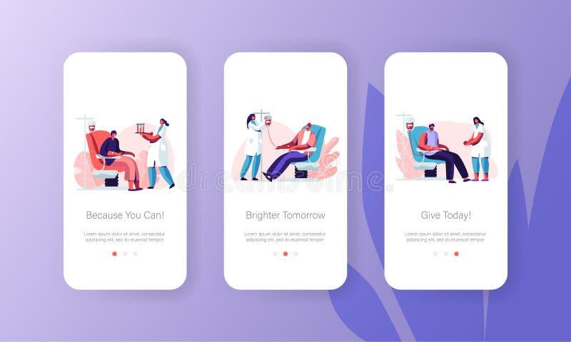 Blut-Spenden-Mobile App-Seite an Bord des Schirmes stellte Freiwillige, die Charaktere im medizinischen Krankenhaus-Stuhl sitzen, lizenzfreie abbildung