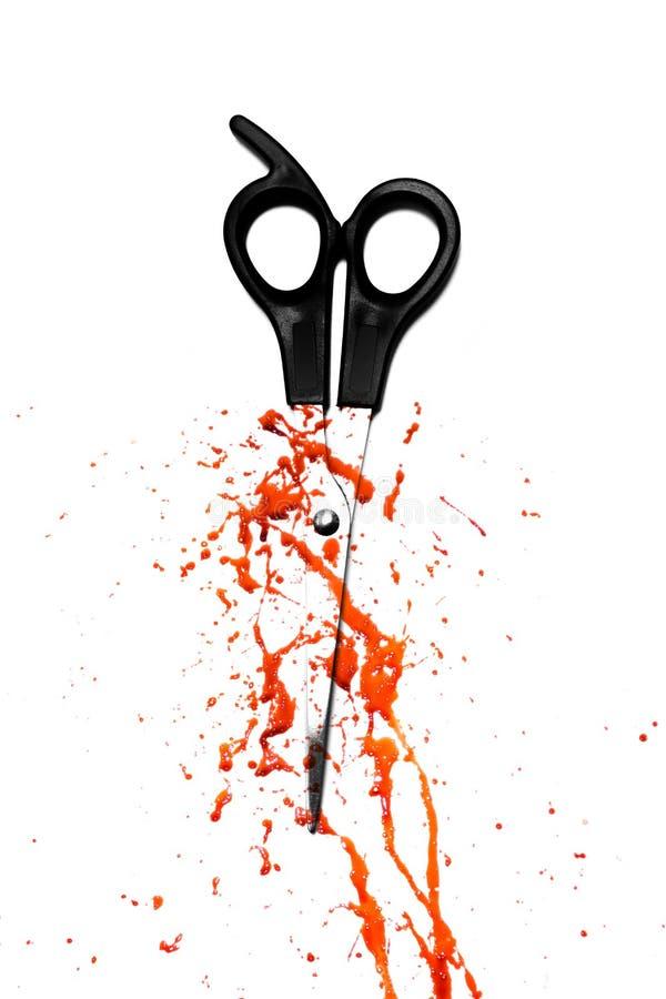 Blut und Haarausschnittscheren stockbild