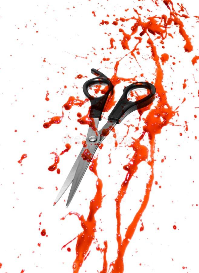 Blut und Haarausschnittscheren lizenzfreies stockfoto