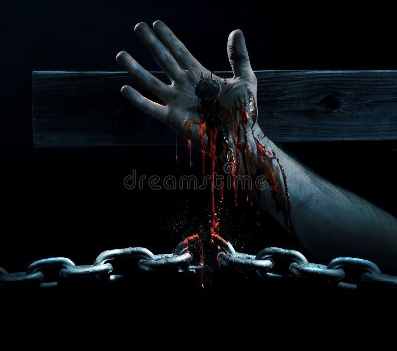 Blut, welches die Ketten bricht lizenzfreies stockbild