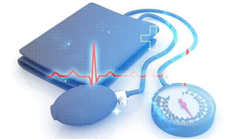 Blutdruck-Monitoren mit ecg Diagramm lizenzfreie abbildung