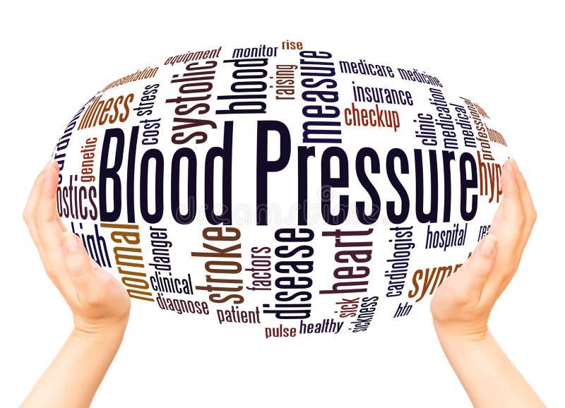 Blutdruck-Wortwolken-Hand-sphereconcept stockfoto