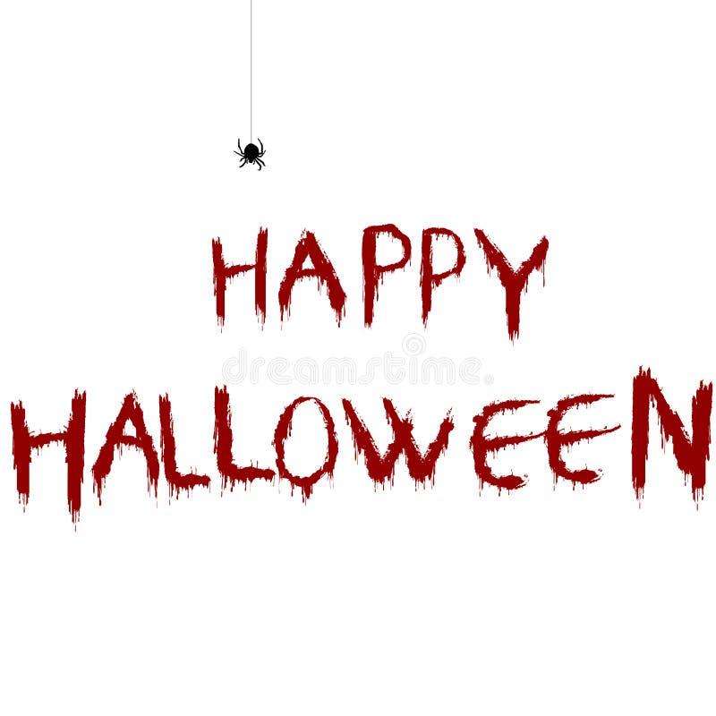 Blutige glückliche Halloween-Illustration mit Karikaturspinne lizenzfreie abbildung