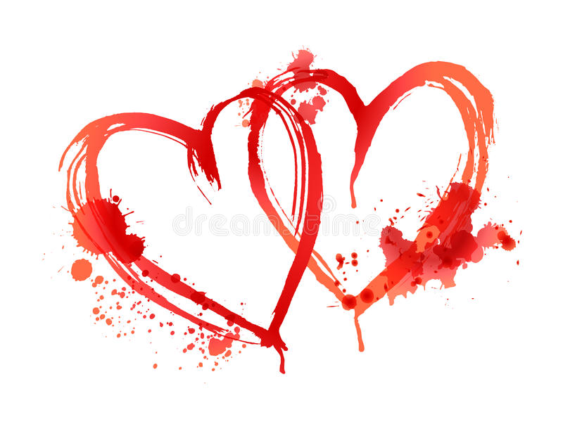 Blutige Herzen gemacht von den Flecken lizenzfreie abbildung