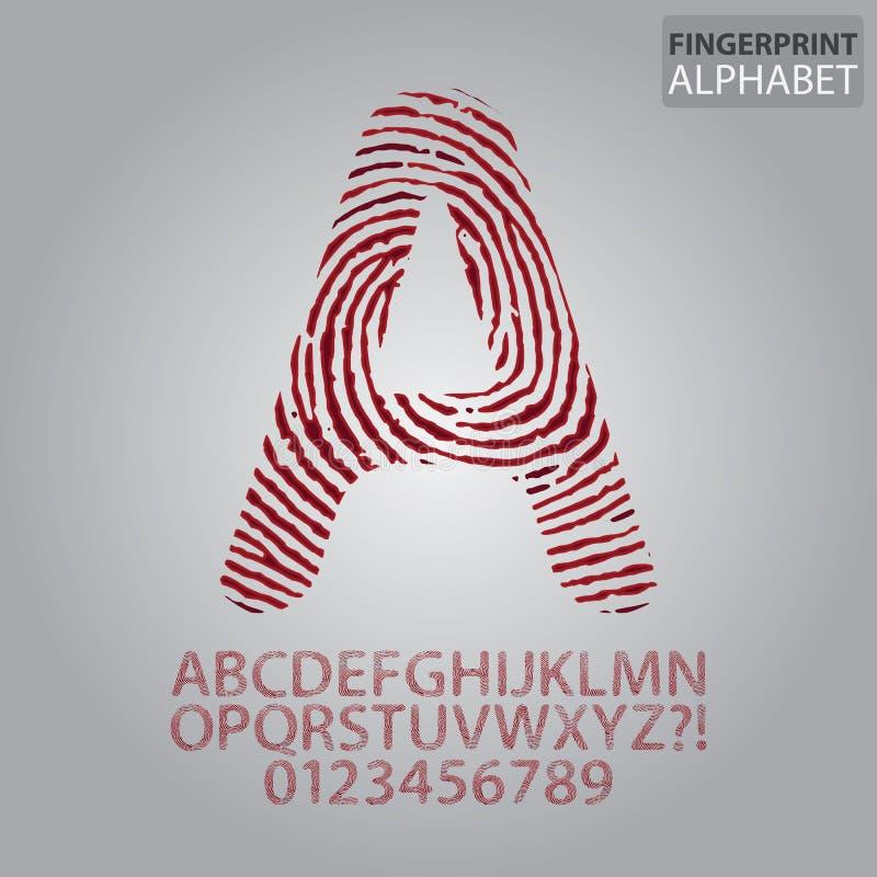 Blutiges Fingerabdruck-Alphabet und Zahl-Vektor lizenzfreie abbildung