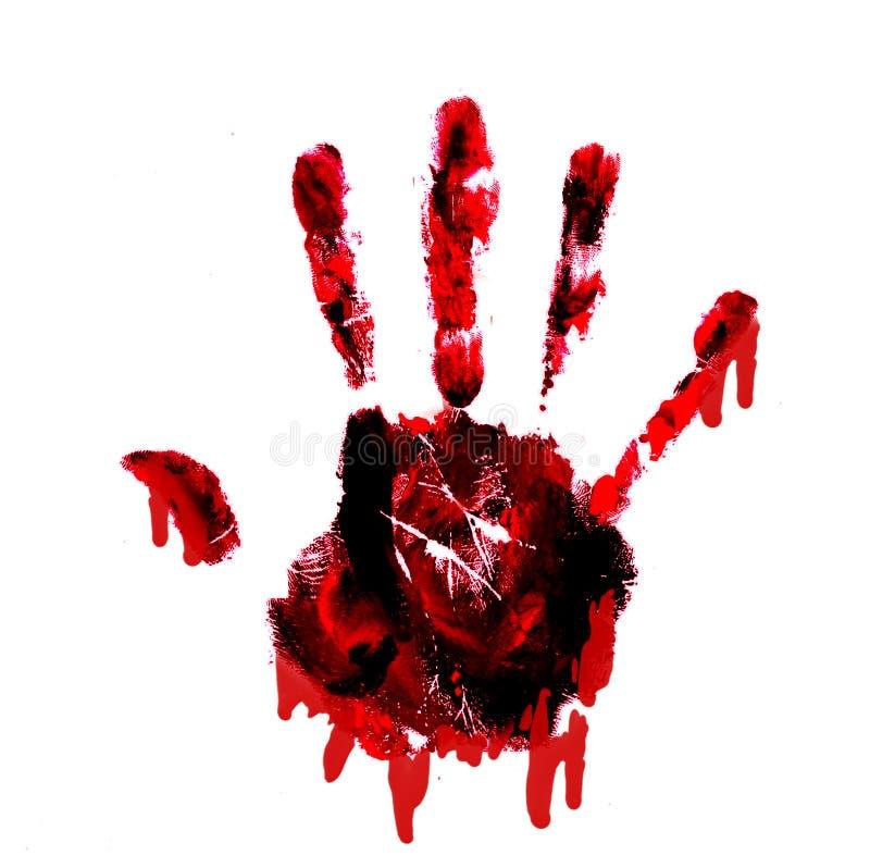 Blutiges handprint mit den Tropfenfängern getrennt auf Weißrückseite stockfotos