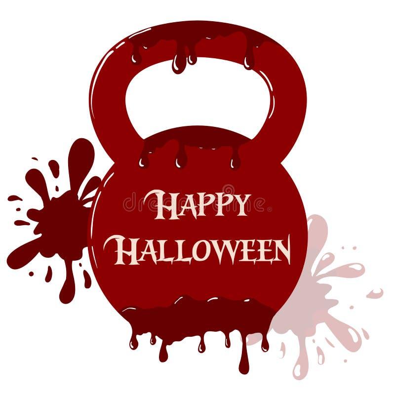 Blutiges kettlebell mit glücklichem Halloween-Text vektor abbildung