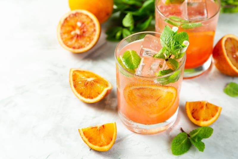 Blutiges Orangensaftgetränk und Bestandteile lizenzfreies stockbild