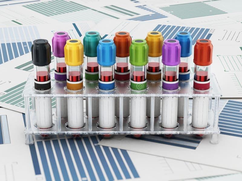 Blutphiolen mit den vibrierenden farbigen Deckeln, die auf medizinischen Formen stehen Abbildung 3D lizenzfreie abbildung
