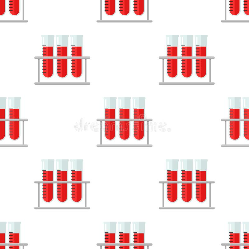 Blutprobe-Phiolen-flache Ikonen-nahtloses Muster stock abbildung
