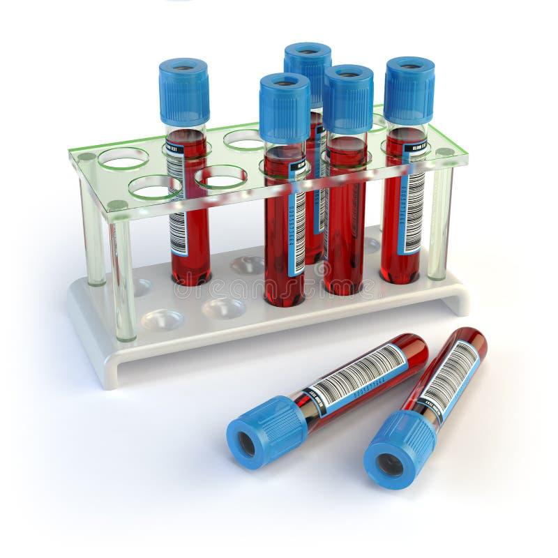 Blutproberohre Blutproben in einem Gestell auf Weiß lizenzfreie abbildung