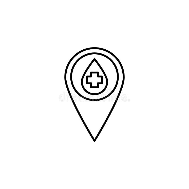 Blutspenden-Stiftikone Element der Blutspende für bewegliche Konzept und Netz apps Illustration Dünne Linie Ikone für Websitedesi stock abbildung