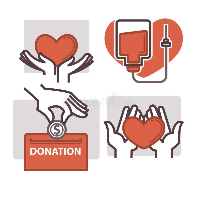 Blutspenden-Vektorherz in den Handreichungsikonenschablonen vektor abbildung