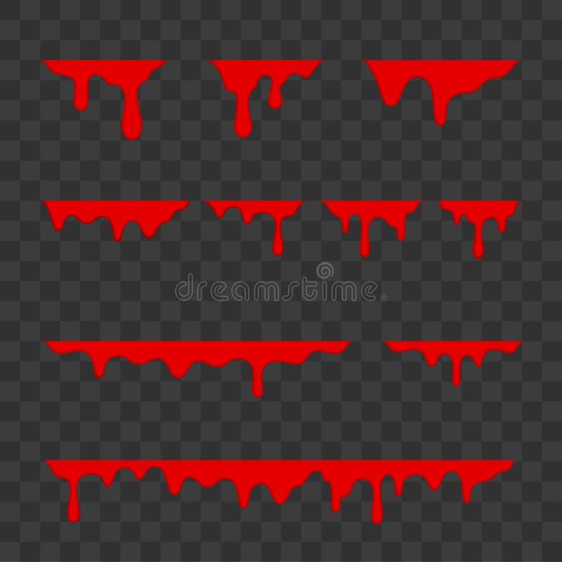 Blutstropfen, Halloween-Dekorationsgrenzen entwerfen Bespritzen mit flüssiger Bluttropfenfänger des Vektors flüssiges Tropfenspri vektor abbildung