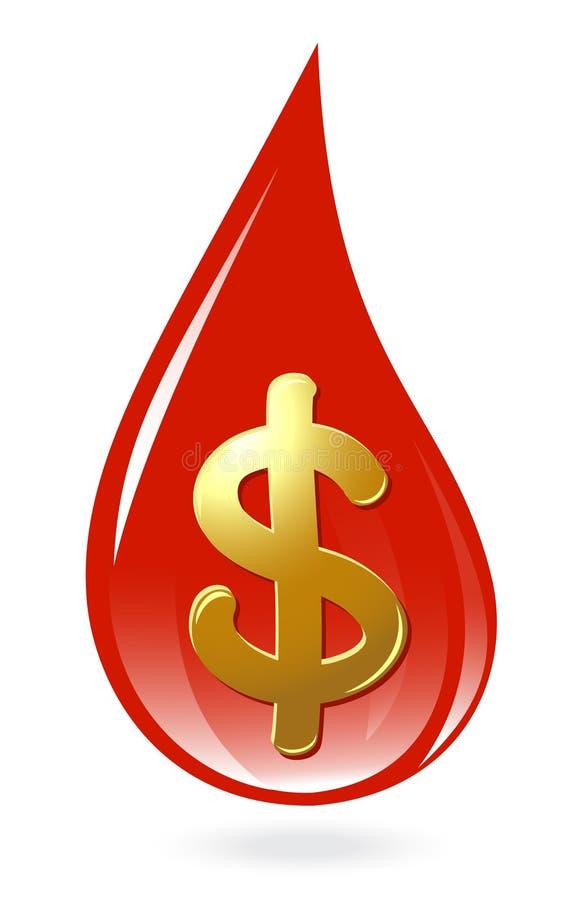 Bluttropfen mit Dollarsymbol lizenzfreie abbildung