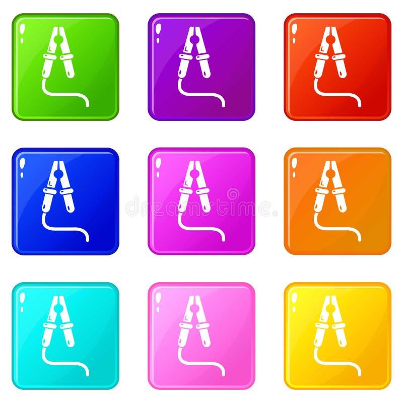 Bluza kabla ikony ustawiają 9 kolorów kolekcję royalty ilustracja