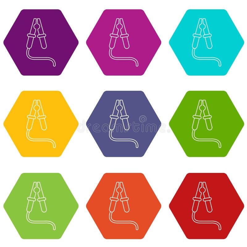 Bluza kabla ikony ustawiają 9 wektor ilustracja wektor