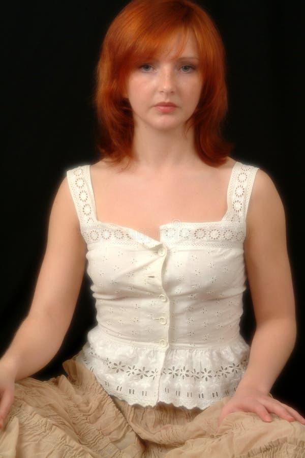 bluzka głowę czerwony portret white obrazy stock