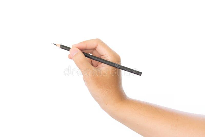 Blyertspenna för svart för manhandinnehav royaltyfria bilder