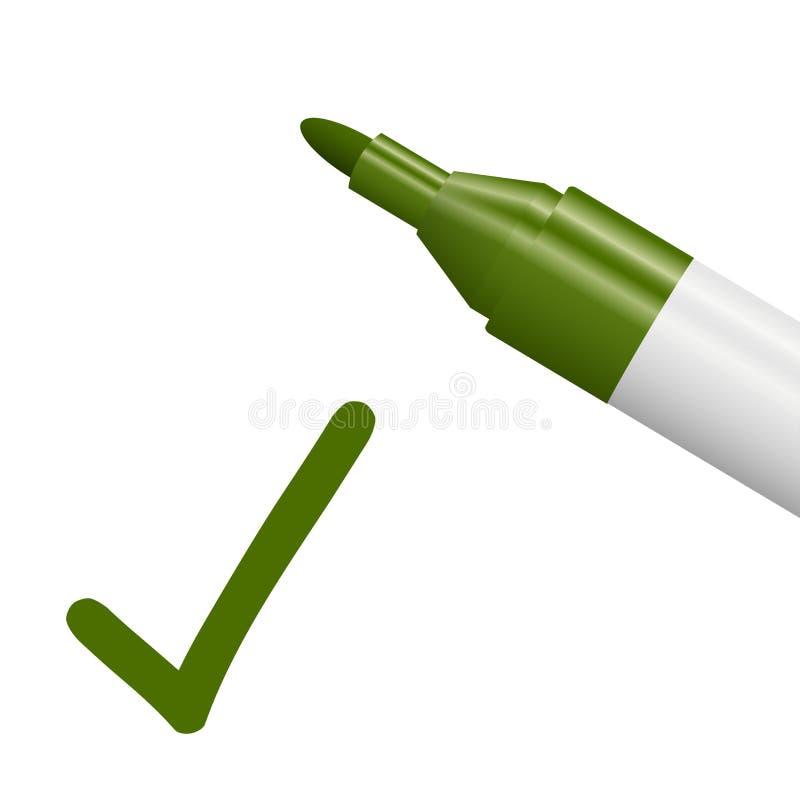 blyertspenna med den gröna kontrollfläcken stock illustrationer