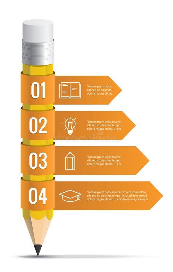 Blyertspenna med mallen för infographics för bandpilillustration stock illustrationer