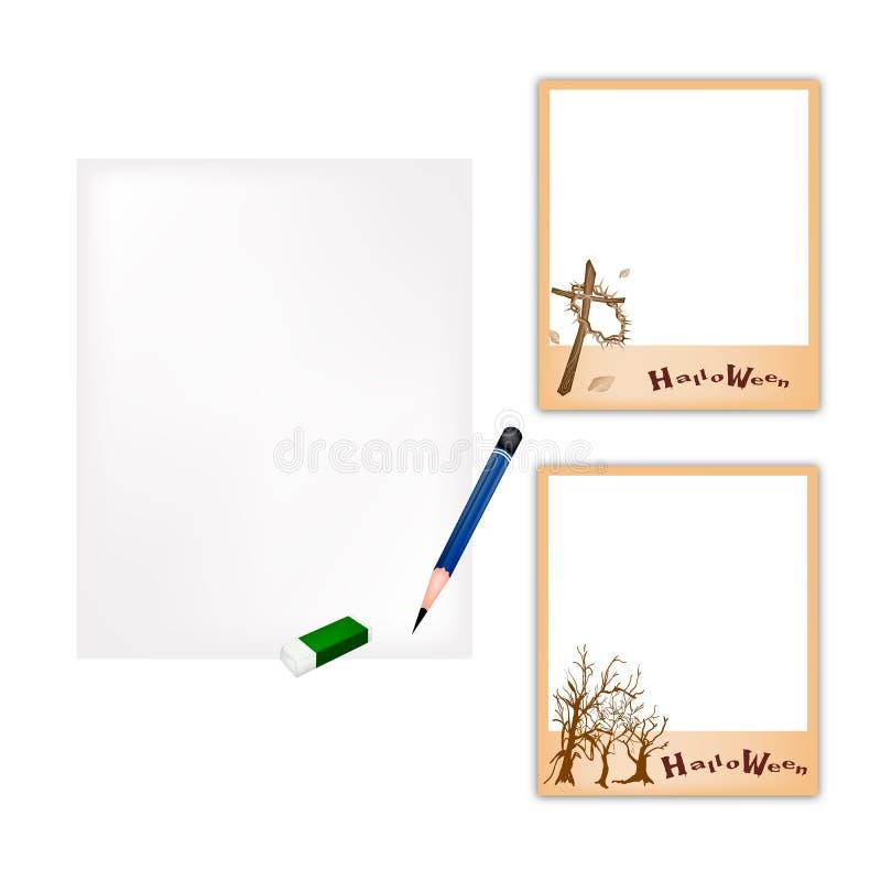 Blyertspenna- och allhelgonaaftonfotoram med tomt papper vektor illustrationer