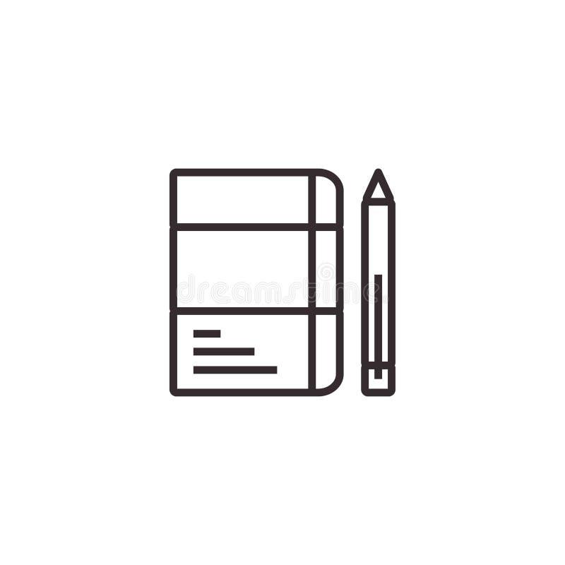 Blyertspenna och anteckningsbok, stationär vektorsymbol, PIXEL perfekt Eps10 Kontorssymbol royaltyfri illustrationer