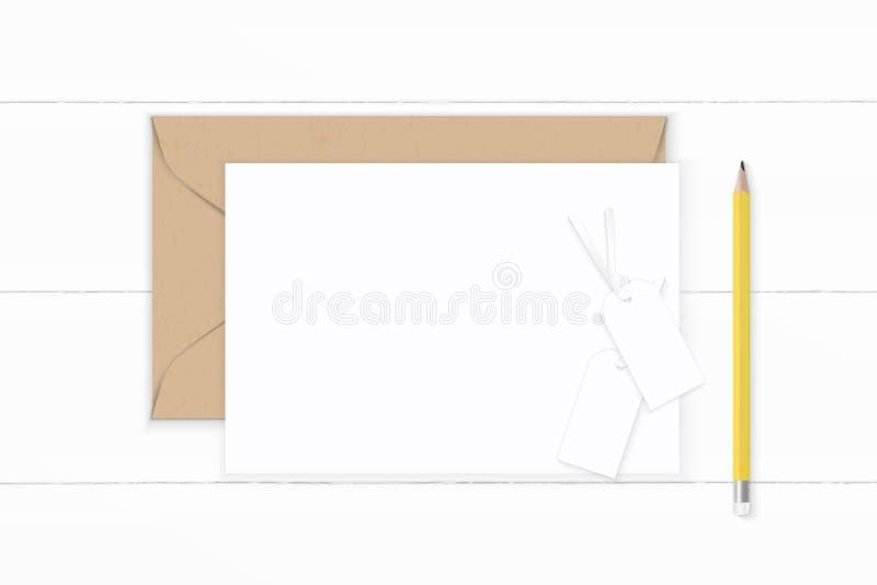 Blyertspenna och etikett för plant lekmanna- för sammansättningsbokstav för bästa sikt elegant vitt för kraft kuvert papper gul p vektor illustrationer