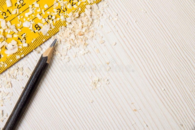 Blyertspenna- och linjalkopieringsutrymme arkivfoton