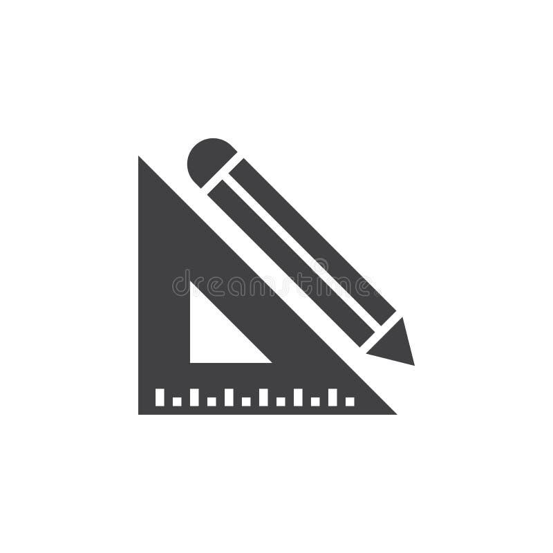 Blyertspenna- och linjalsymbolsvektor, fast logo, isolerad pictogram royaltyfri illustrationer