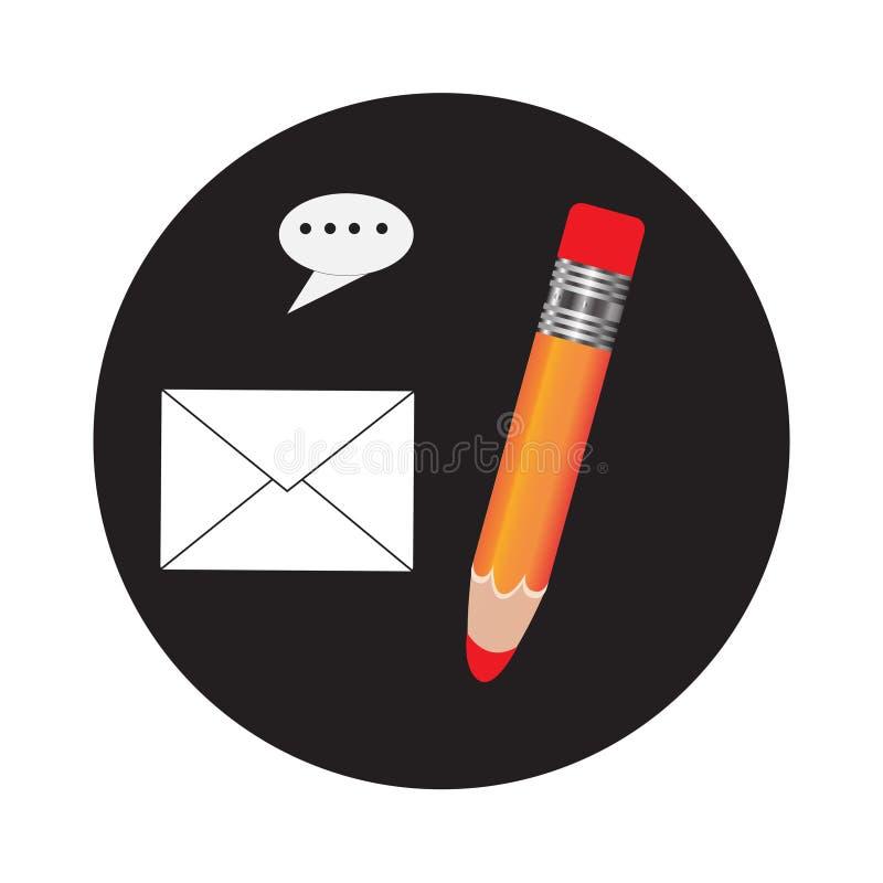 Blyertspenna- och pennsymboler Illustration för vektor för plan designstil modern Isolerat på stilfull färgbakgrund Plan lång sku stock illustrationer