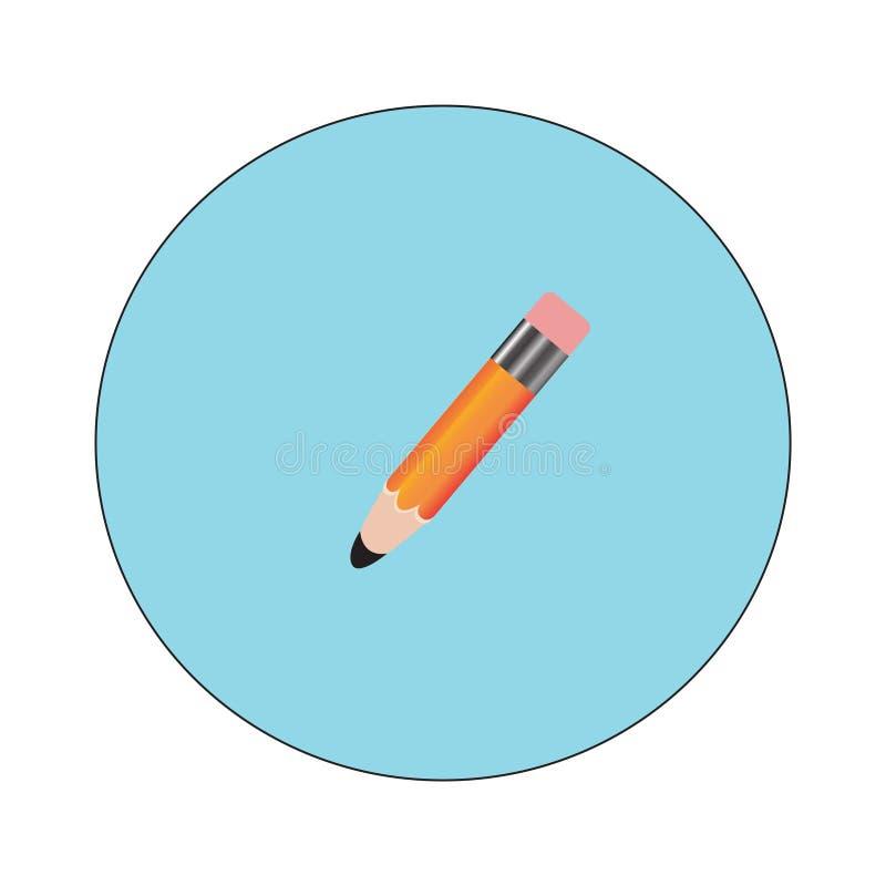 Blyertspenna- och pennsymboler Illustration för vektor för plan designstil modern Isolerat på stilfull färgbakgrund Plan lång sku vektor illustrationer