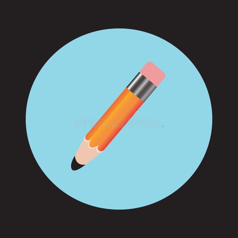 Blyertspenna- och pennsymboler Illustration för vektor för plan designstil modern Isolerat på stilfull färgbakgrund Plan lång sku royaltyfri illustrationer