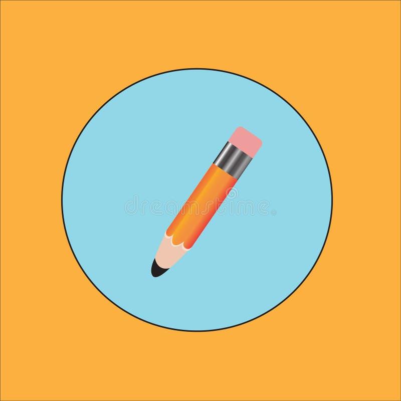 Blyertspenna- och pennsymboler Illustration för vektor för plan designstil modern på stilfull färgbakgrund Plan lång skuggasymbol royaltyfri illustrationer