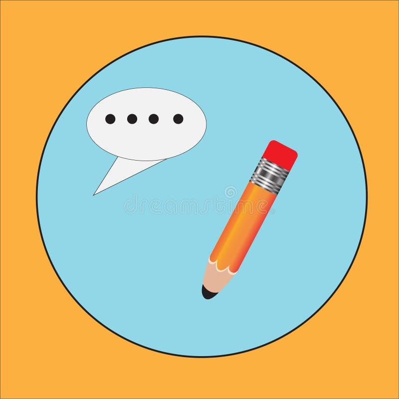 Blyertspenna- och pennsymboler Illustration för vektor för plan designstil modern på stilfull färgbakgrund Plan lång skuggasymbol vektor illustrationer