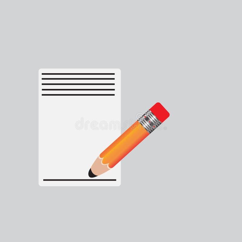 Blyertspenna- och pennsymboler Illustration för vektor för plan designstil modern på stilfull färgbakgrund Plan lång skuggasymbol stock illustrationer
